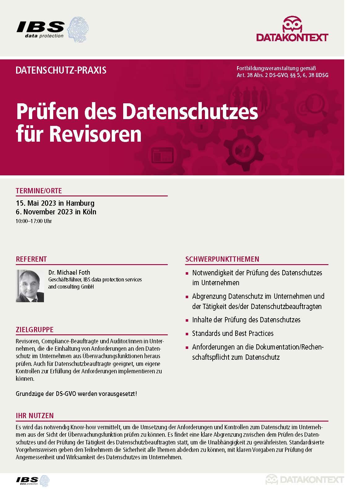 Prüfen des Datenschutzes für Revisoren
