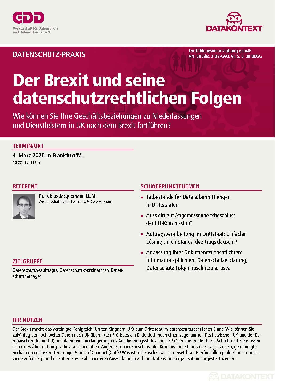 Der Brexit und seine datenschutzrechtlichen Folgen