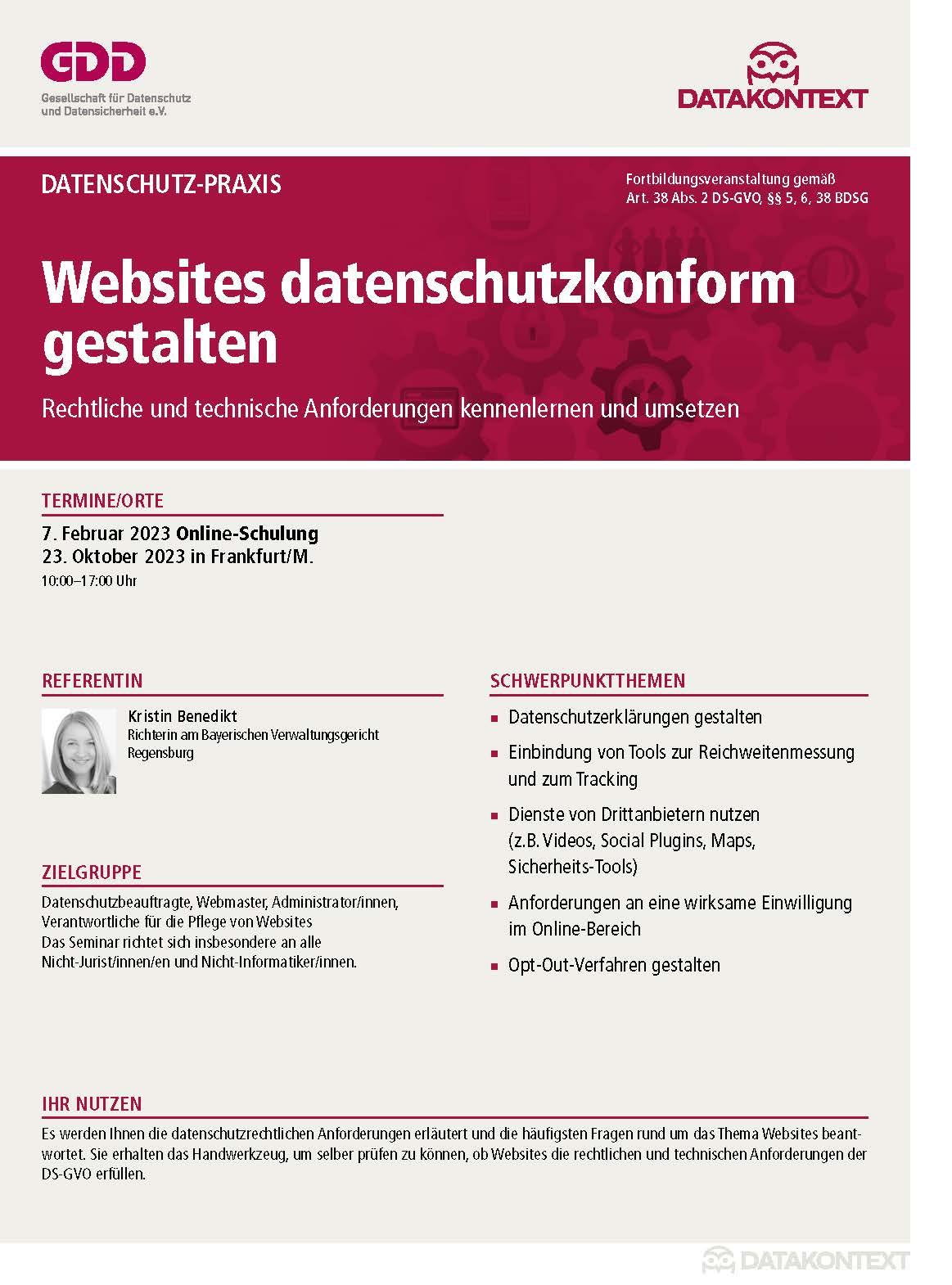 Online - Schulung: Websites datenschutzkonform gestalten