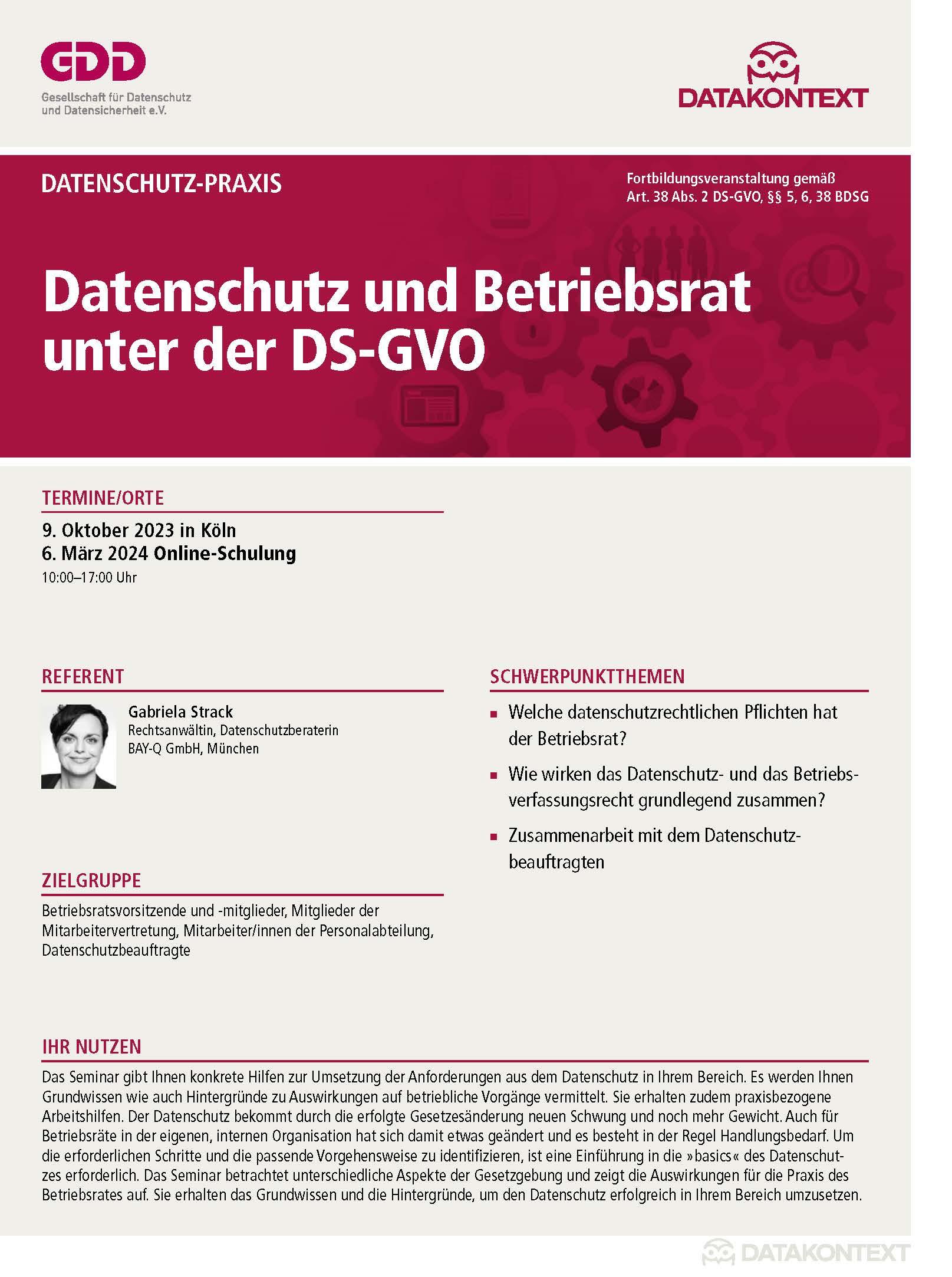 Datenschutz und Betriebsrat unter der DS-GVO
