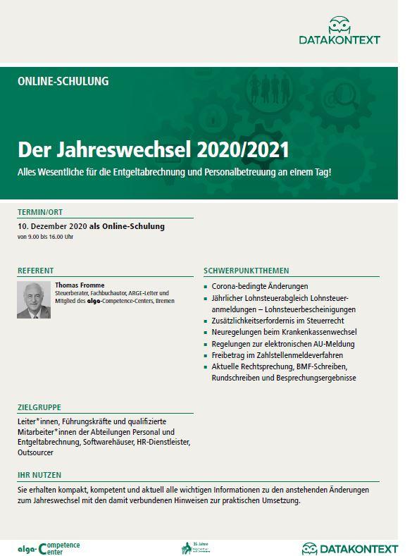 Der Jahreswechsel 2020/2021