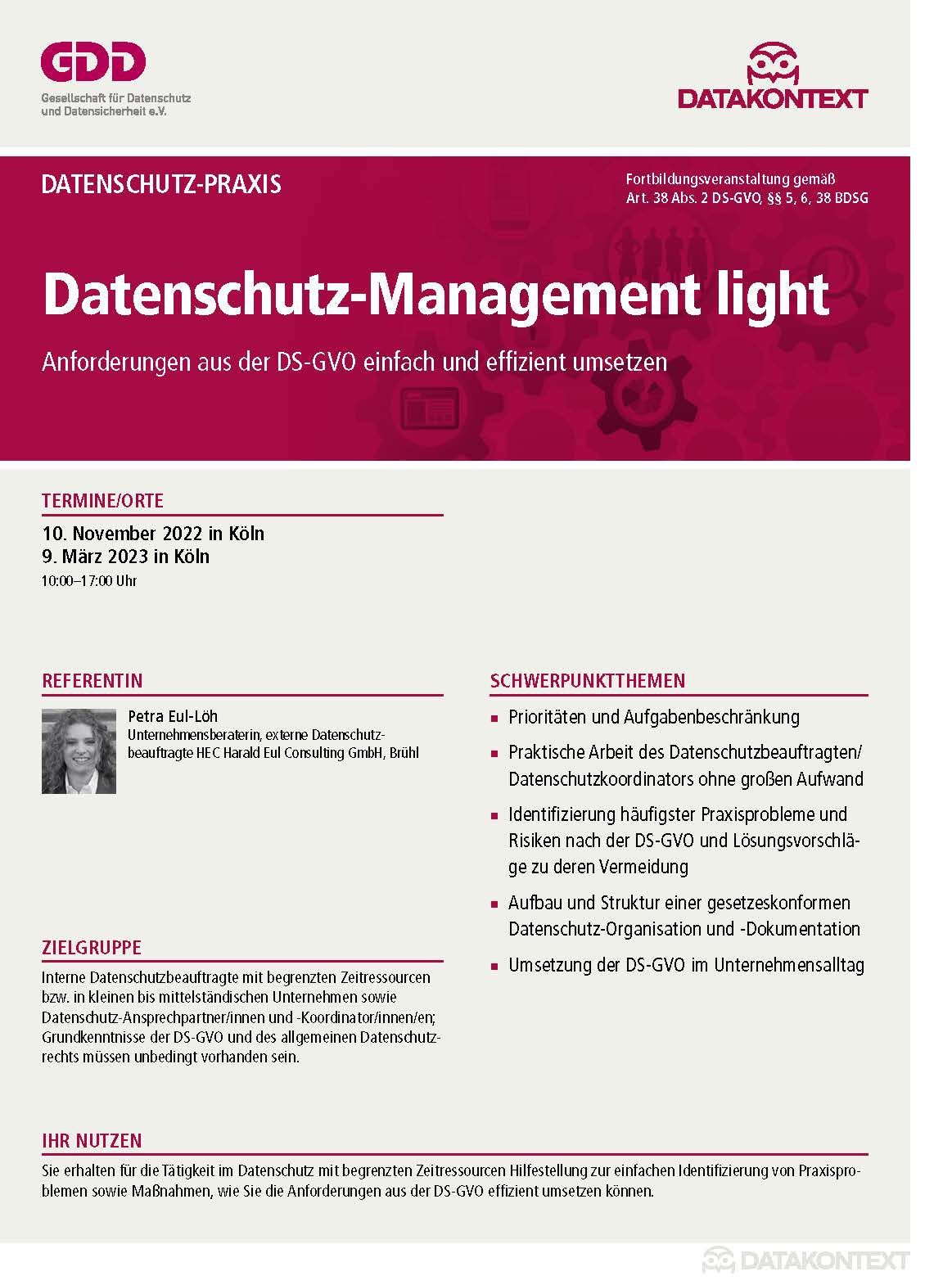 Datenschutz-Management light