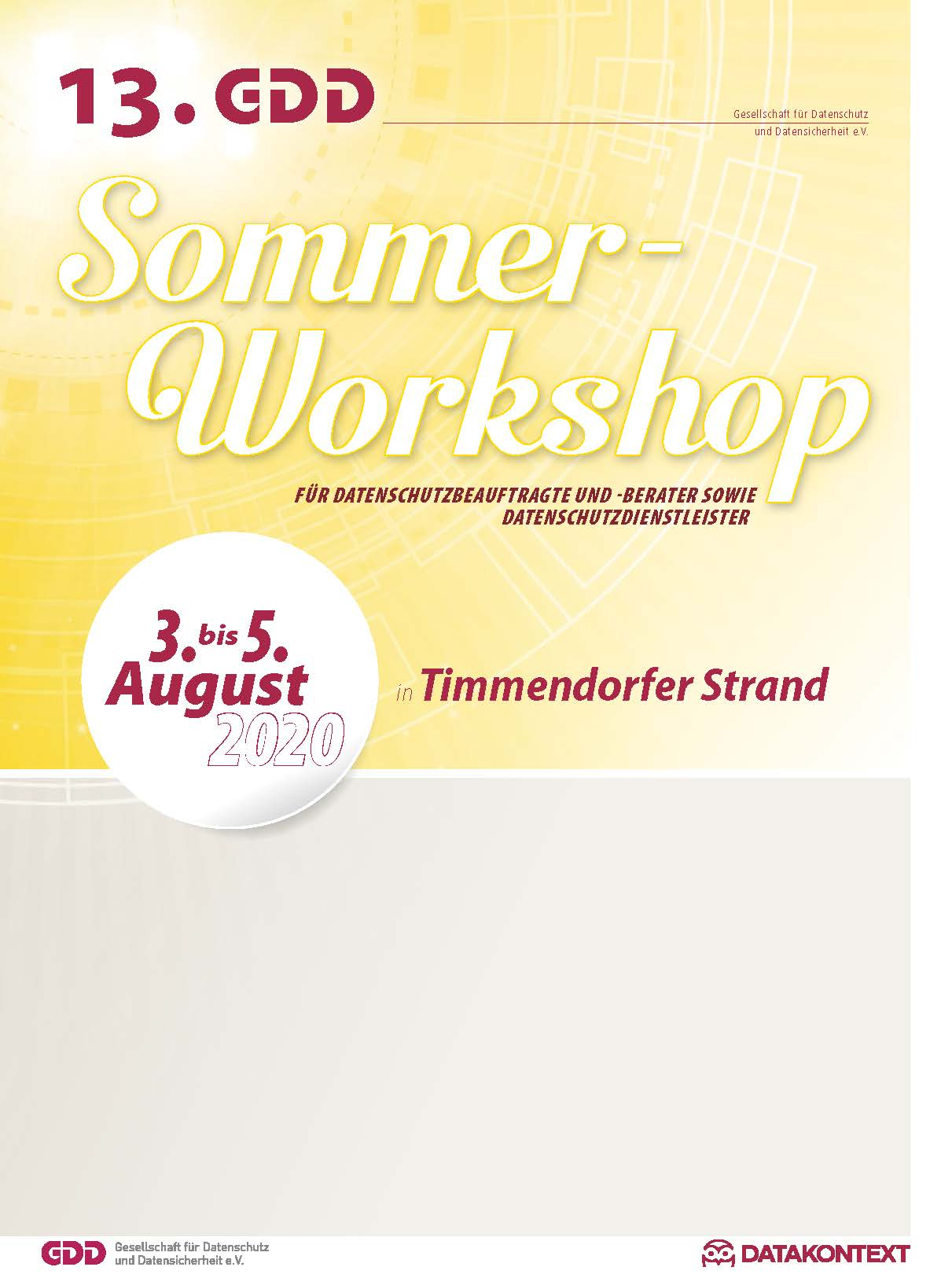 13. GDD-Sommer-Workshop für Datenschutzbeauftragte und -berater sowie Datenschutzdienstleister