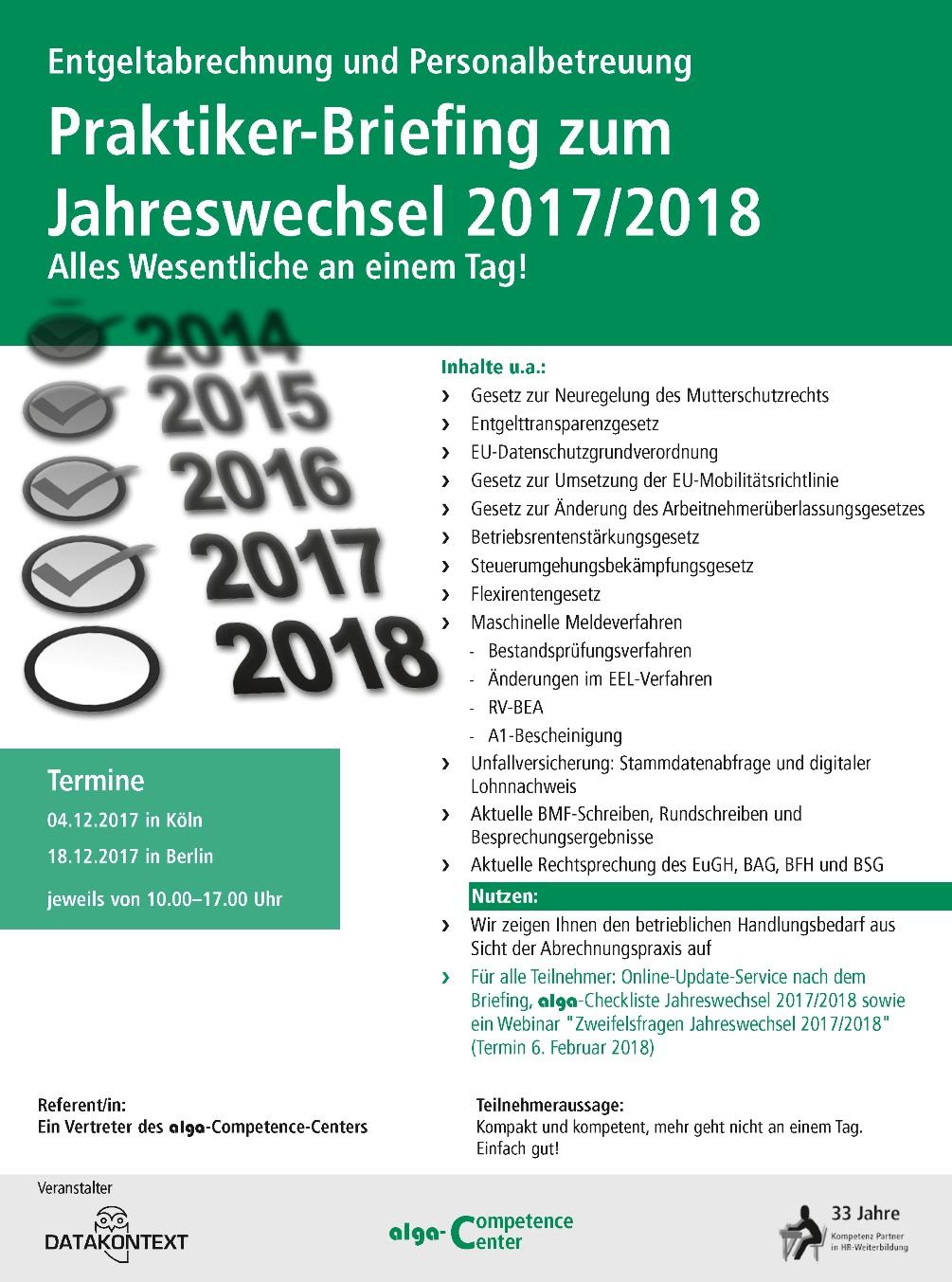 Praktiker-Briefing zum Jahreswechsel 2017/2018