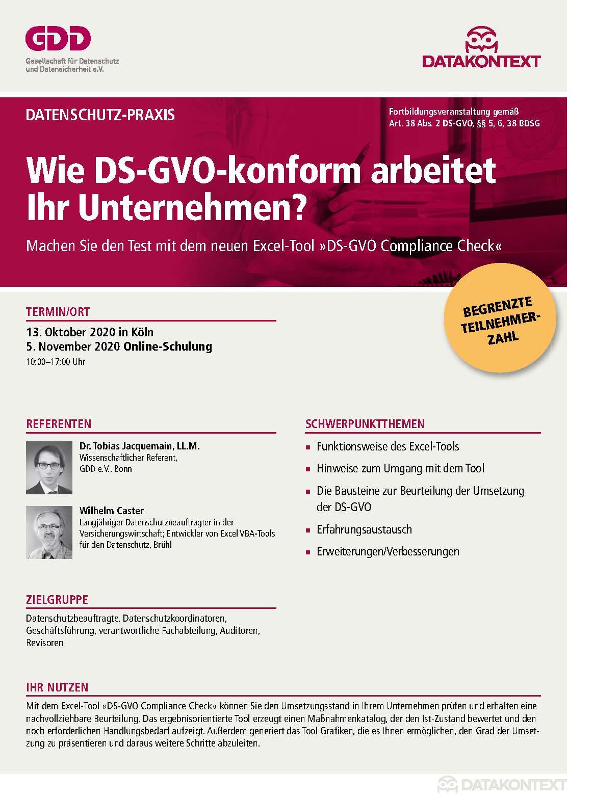 Wie DS-GVO-konform arbeitet Ihr Unternehmen?