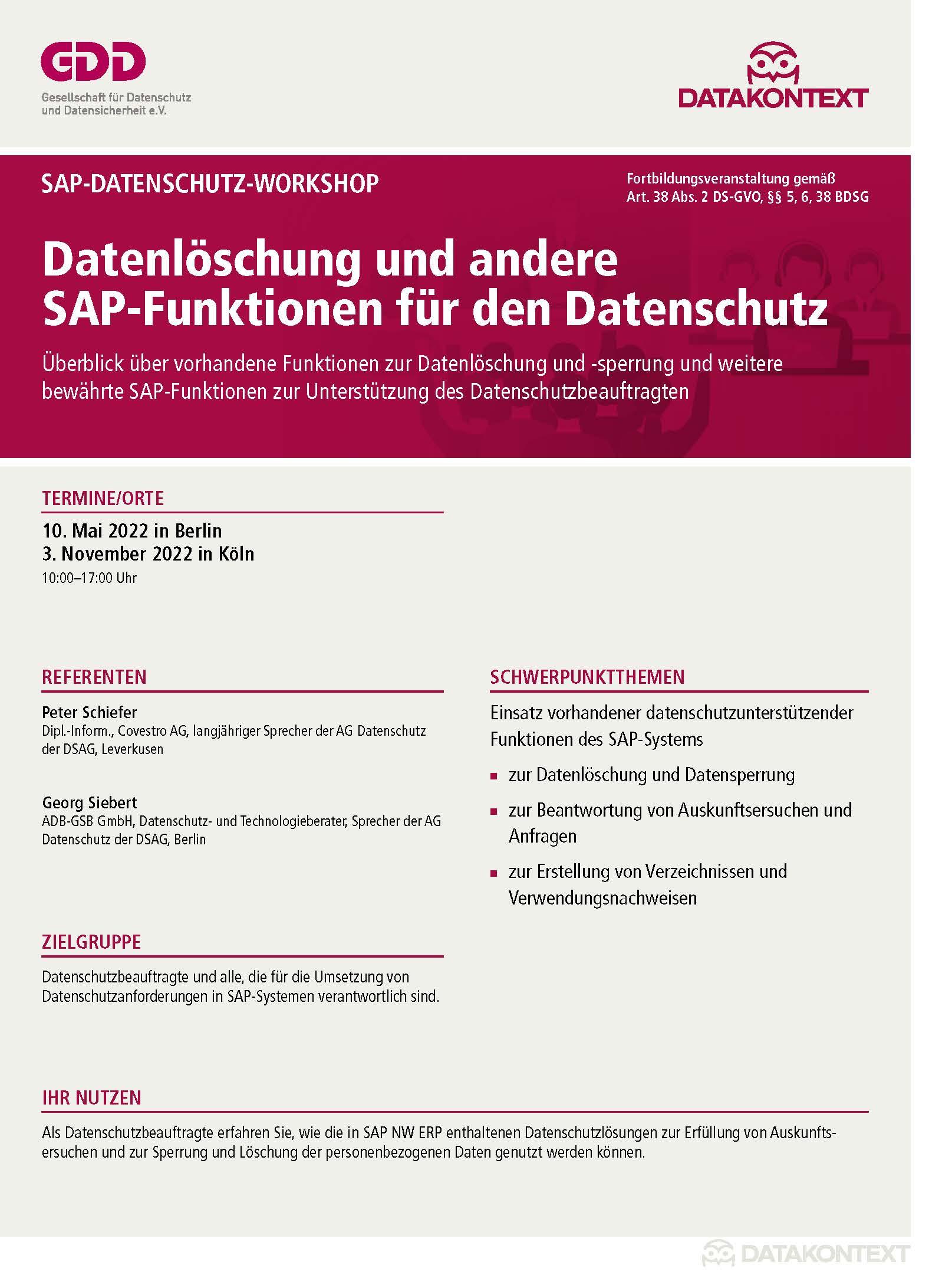 Datenlöschung und andere SAP-Funktionen für den Datenschutz