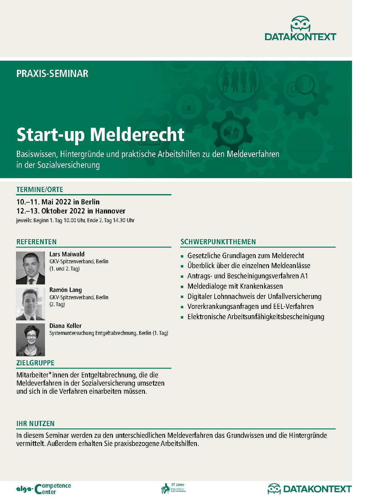 Start-up Melderecht