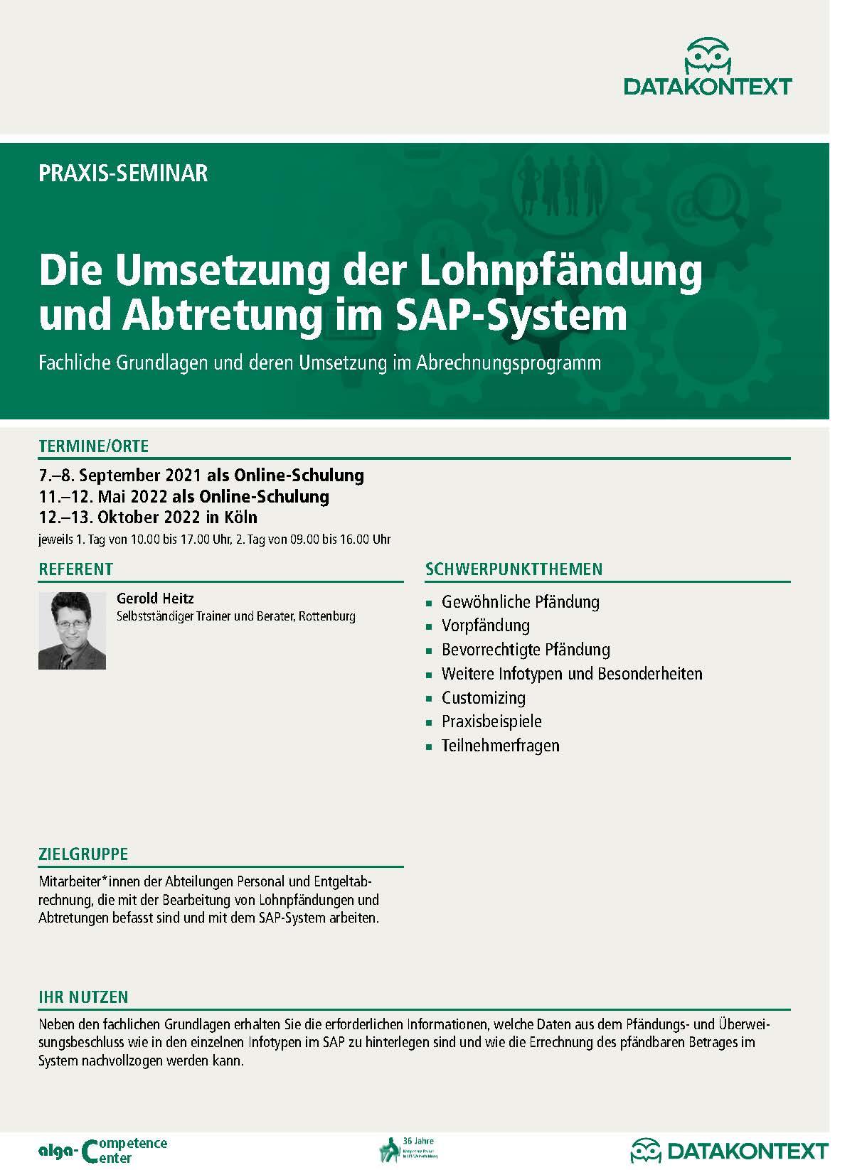 Die Umsetzung der Lohnpfändung und Abtretung im SAP-System