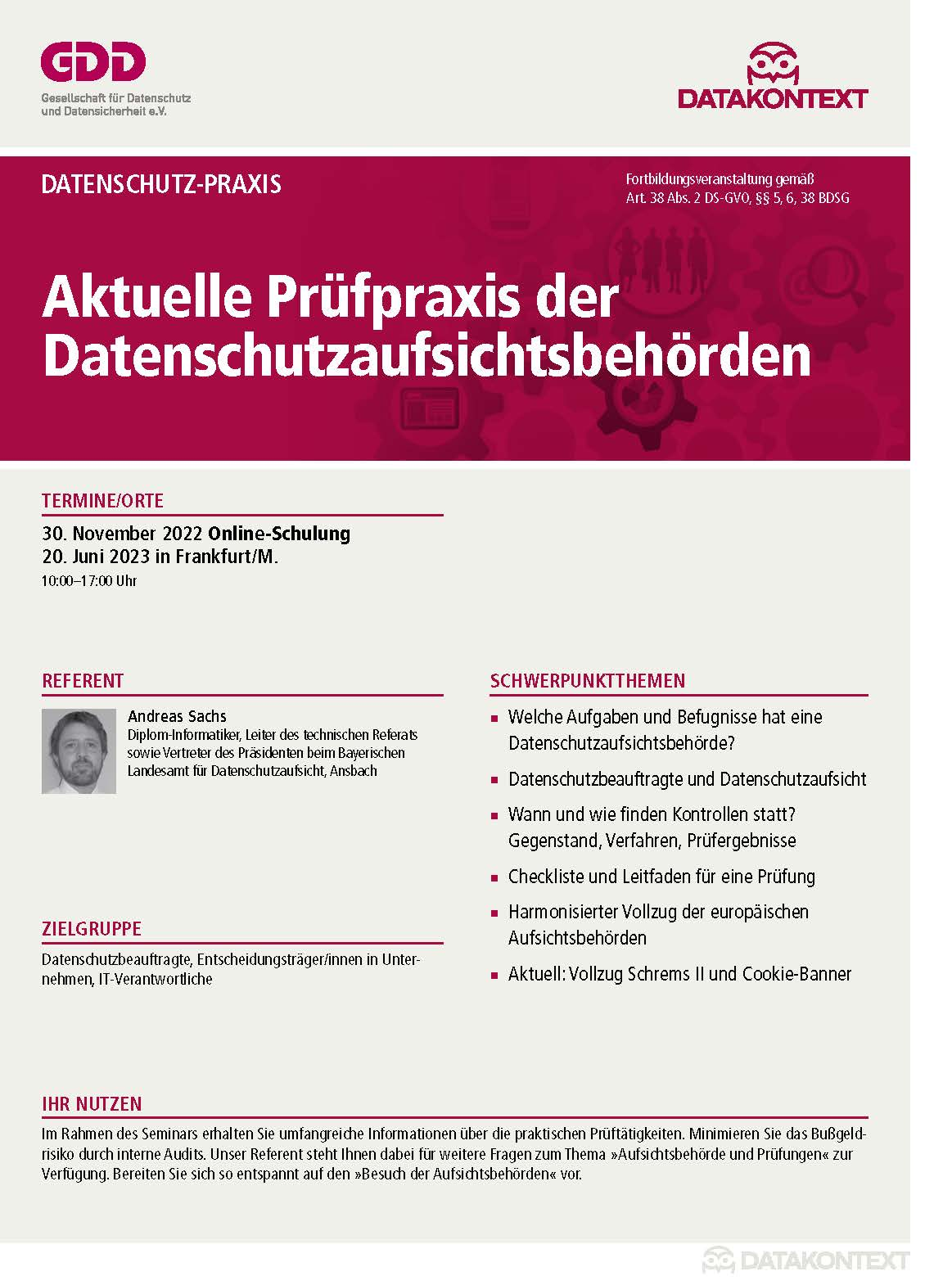 Aktuelle Prüfpraxis der Datenschutzaufsichtsbehörden