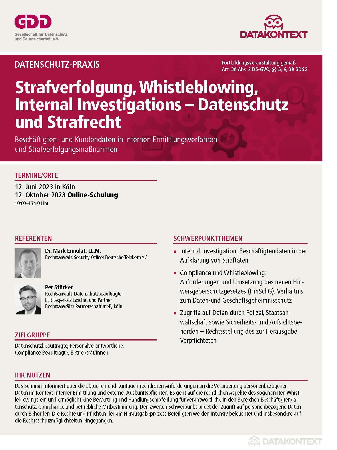 Strafverfolgung, Whistleblowing, Internal Investigations - Datenschutz und Strafrecht