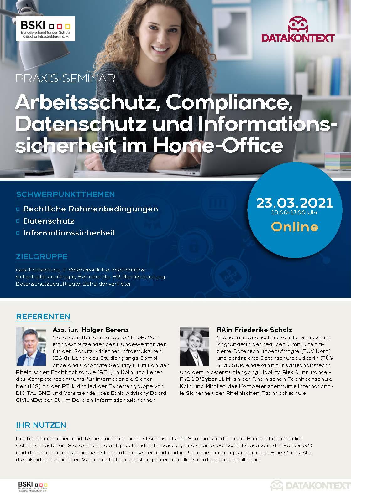 Arbeitsschutz, Compliance, Datenschutz und Informationssicherheit im Home-Office