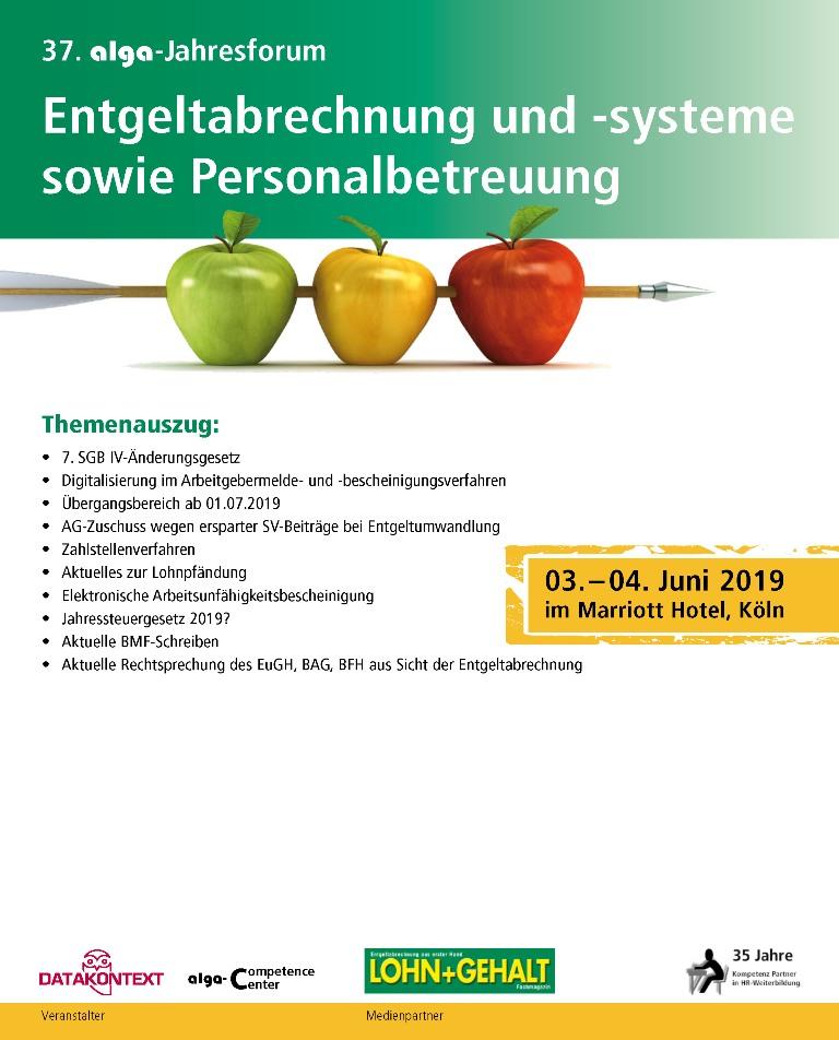 37. alga-Jahresforum Entgeltabrechnung und -systeme sowie Personalbetreuung