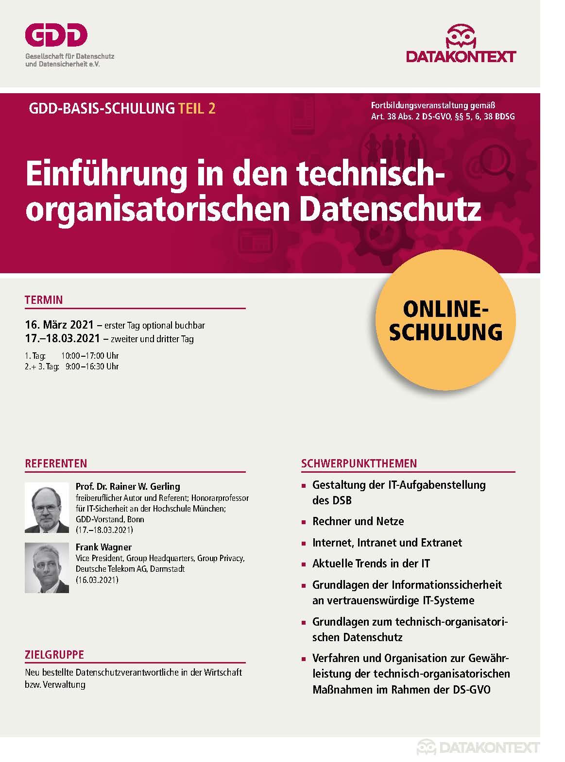 Teil 2: Einführung in den technisch-organisatorischen Datenschutz