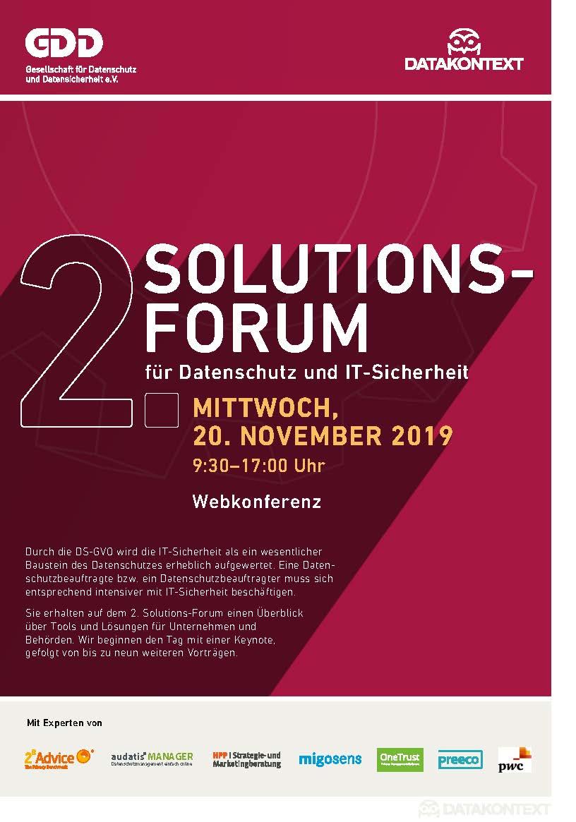 Kostenlose Webconference: 2. Solutions-Forum für Datenschutz und IT-Sicherheit