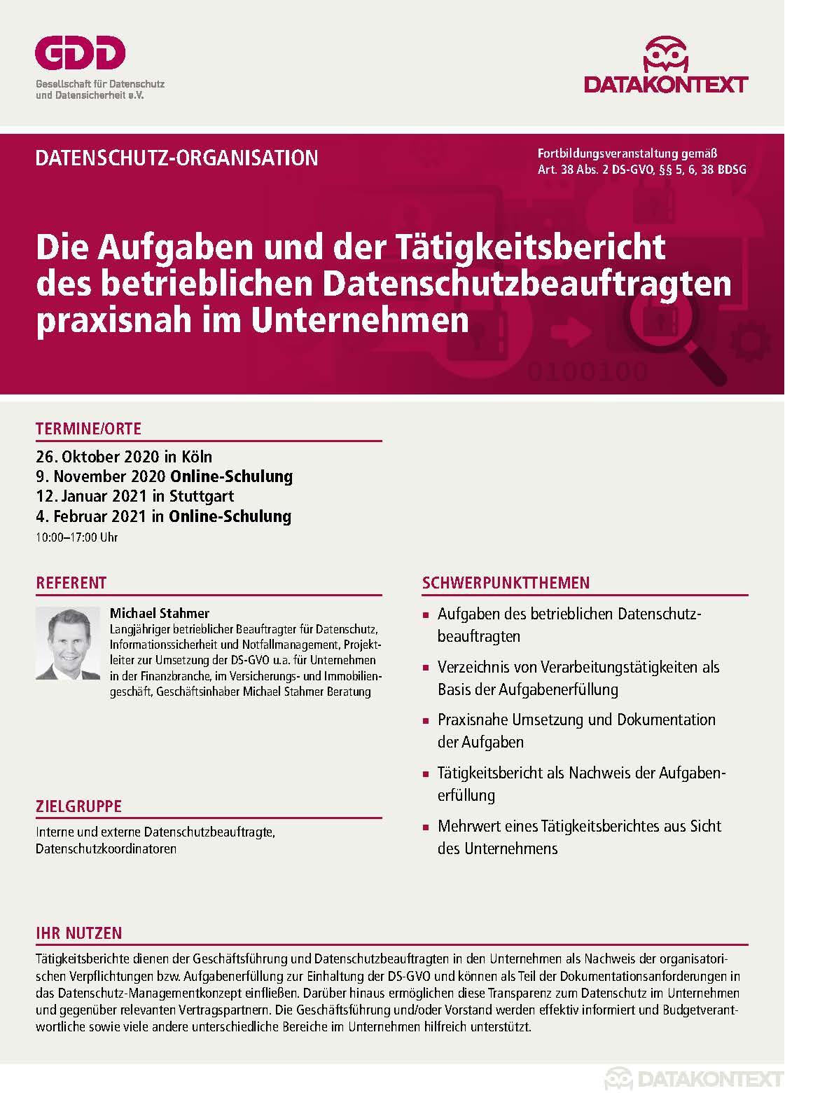 Tätigkeitsbericht des betrieblichen Datenschutzbeauftragten